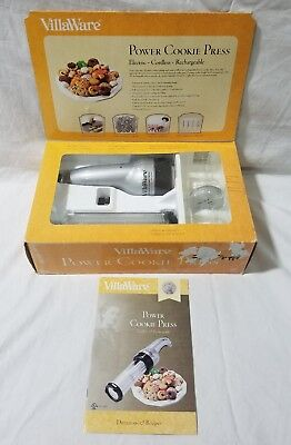 NEW VillaWare Cordless Power Cookie Press Rechargeable 20 Discs #5375