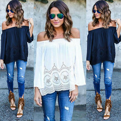 Newest Summer Women Blouse Off Shoulder Long Sleeve Lace Shirt Tops Sexy Blouses