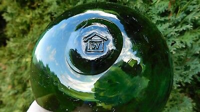 Vintage Genuine Olive Green Glass Float W/ House Mark On Seal Button