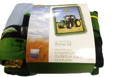 Quilting Sewing JOHN DEERE NO SEW FLEECE THROW KIT inc Fabric New