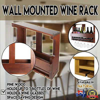 Wine Rack Wall Mounted 7 Bottles 8 Glass Wooden Holder Storage Display Organise