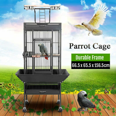 156cm Large Metal Pet Bird Parrot Canary Cage With Play Roof Top Ladder Wheels
