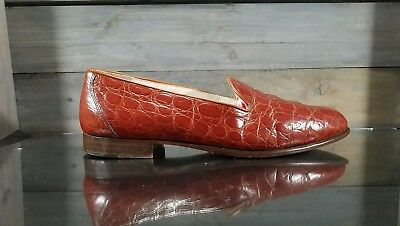 JOHNSTON MURPHY Mens Sz 9 M Slip On CROCODILE PRINT Leather loafers Casual Italy
