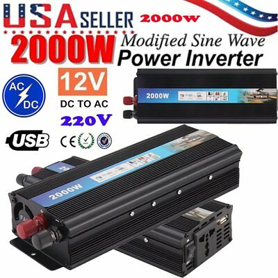US 2000W Car Power Inverter Converter DC 12V To AC 220V USB Charger