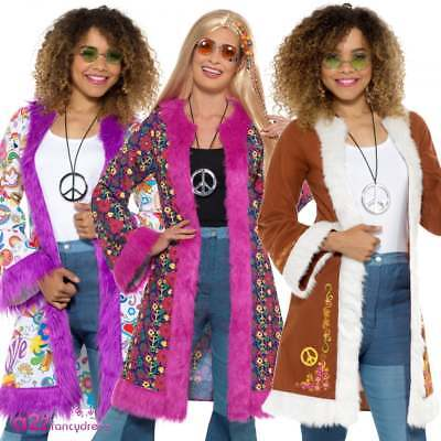 Ladies 60s Retro Afghan Coat Groovy Pychedelic Costume Adult Fancy Dress Outfit