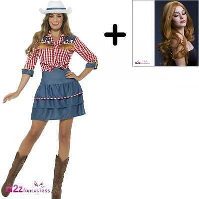 Ladies Rodeo Doll Western Wild West Cowgirl 80s Womens Fancy Dress COSTUME + WIG