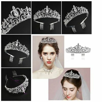 Wedding Bridal Crown Headband Tiara with Comb Shining Crystal Rhinestones