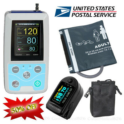 24 Hours Ambulatory Blood Pressure Monitor NIBP Holter with SPO2 Oximeter+CD,USA