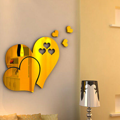 3D Mirror Love Hearts Wall Sticker Decal DIY Hme Room Art Mural Decor Removable