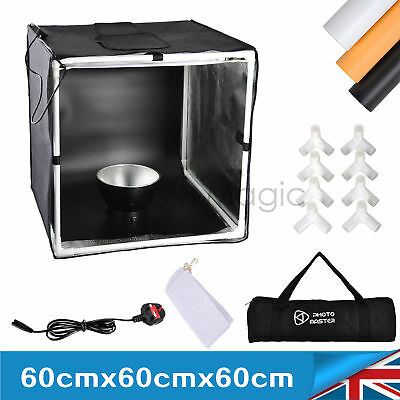 60cm Square Photo Studio Soft Box Tent Led Light 3x Background Backdrop Room Pro