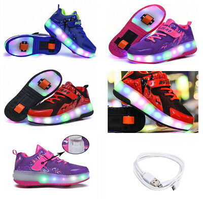 Kids USB Charging Roller Wheel Shoes Led Girl Luminous Shoes DoubleWheel Sneaker