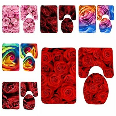 Rose Red Flower Printing Three Sets of Bath Mat Toilet Mat Flannel Floor Carpet