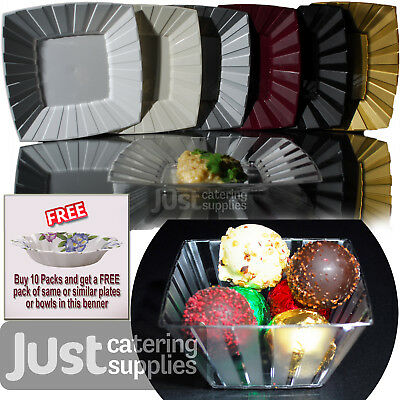 Disposable Heavy Duty Square Plastic Plates - Buy 10 Packs Get FREE Paper Dishes