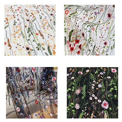 1 Yard Vintage Floral Embroidery Mesh Wedding Dress Lace Fabric 53 inch Width X7