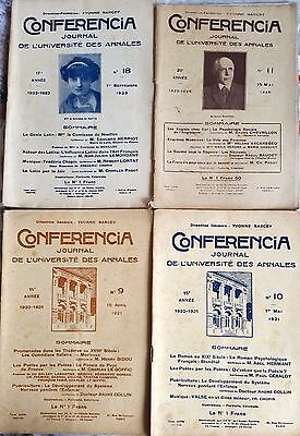 "Lote de 4 ""CONFERENCIA"" Journal des Université annales 1921 et 1926 Herriot E"