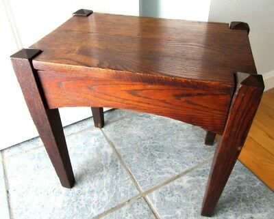 ANTIQUE STICKLEY Era Table Oak Wood Mission Arts Crafts Stool Stand