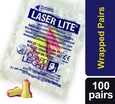 200 Soft foam ear plugs, (100 Pairs) Howard Leight Laser Lite Earplugs SNR 35dB