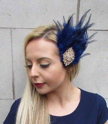 Navy Blue Gold Silver Diamante Feather Fascinator Hair Clip Races 1920s Vtg  5522 89b0aabfecc