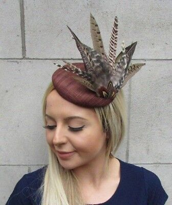 Brown Pheasant Feather Pillbox Hat Fascinator Races Hair Clip Sinamay Ascot 5524