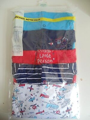 George 5 Pack Airplane/Helicopter Mix Baby Sleepsuits - First Size up to 9lbs
