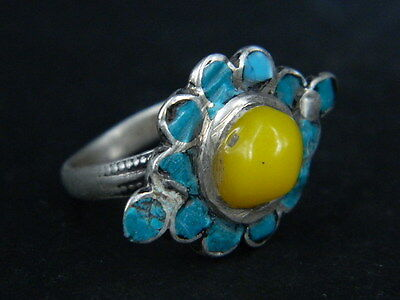 Antique Silver Ring With Stones Post Medieval 1800 AD   #STC213    ( WEARABLE )