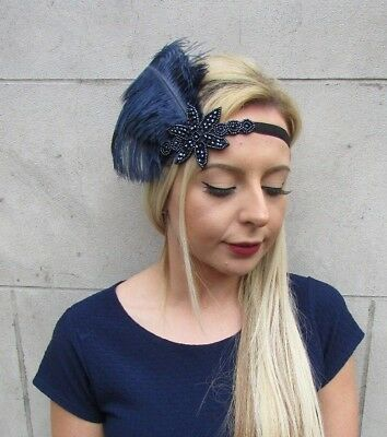Navy Blue Black Feather Headpiece 1920s Headband Flapper Great Gatsby Vtg 5528