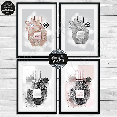 Beautiful Fashion Wall Art  rose gold Flowerbomb illustration grey perfume print