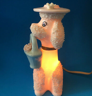 Vtg IRICE 1950's POODLE NIGHT LIGHT LAMP diffuser - PINK with HAT & BASKET vgc