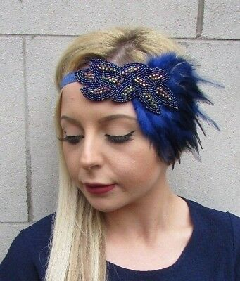 Navy Blue Feather Headpiece 1920s Headband Flapper Great Gatsby Vintage 5529