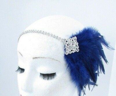 Navy Blue Silver Diamante Feather Headpiece 1920s Headband Flapper Gatsby 5530