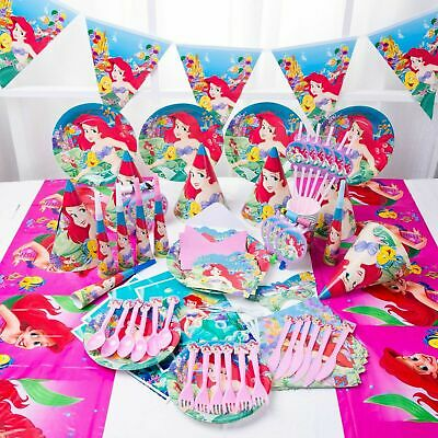 ARIEL The Little Mermaid Birthday Party Supplies Set Plate Cup Napkin Balloon