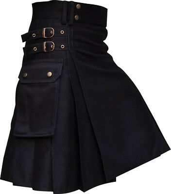 Black Utility/Wedding Kilt Made Cotton and Delivery in 5 to 7 days