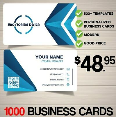 "1000 Business Card - 16PT Matte/UV Finish - 2"" X 3.5"" with FREE MODERN DESIGN"