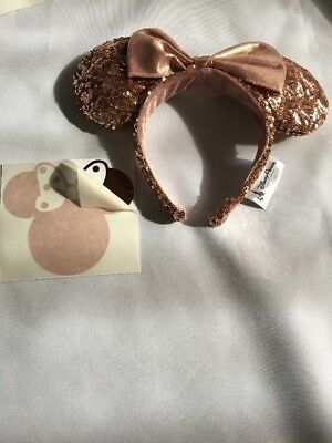 Disney Park Rose Gold Minnie Mouse Ears Champagne Copper Headband Sticker