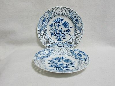 Meissen Blue Onion Pierced Reticulated Salad Plates (2) - Crossed Swords Pommels