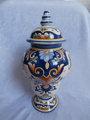 Rouen Fait Main French Pottery Rare Floral Patterned Decorative Tall Jar And Lid