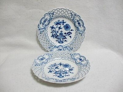 Meissen Blue Onion Pierced Reticulated Salad Plates (2) Crossed Swords FrontBack