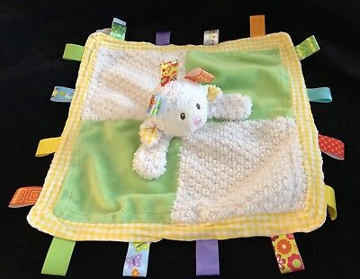 """TAGGIES Plush Ivory Green LAMB Sheep Security Blanket Baby Toy 13"""" Lovey EUC"""
