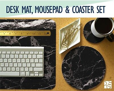 Black Marble Print Desk Mat, Mouse Pad & Coaster Set
