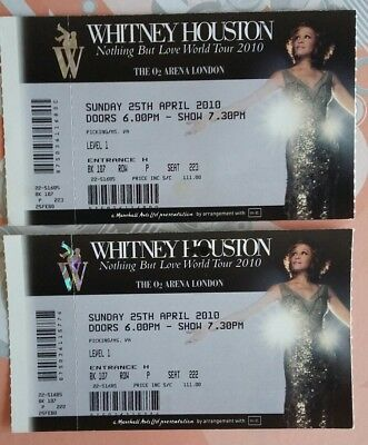 Two Unused Whitney Houston Concert Tickets April 25,  2010 - O2 Arena London