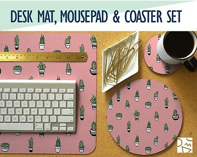 Tiny Cacti Print Desk Mat, Mouse Pad & Coaster Set -Desk Accessory