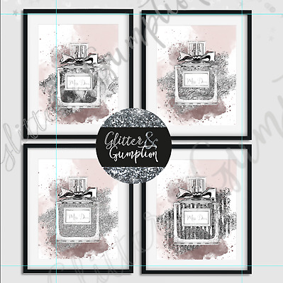 Abstract Fashion Wall Art Dusty pink silver miss diva perfume beauty room print