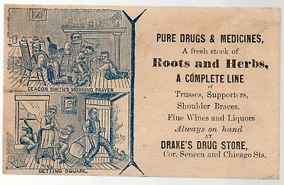 Vintage Victorian Trade Card, Drake's Drug Store, Roots And Herbs,