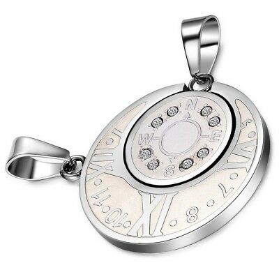 bbe8ae03a 2PCS Couple Necklace Stainless Steel Numeral Compass Sun Moon Matching  Pendant