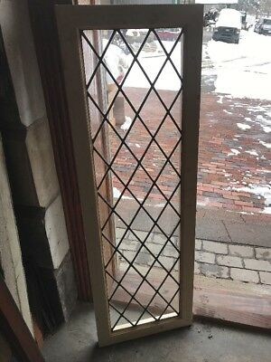 Sg 2142 Antique Leaded Glass Window 17.25 X 48.75