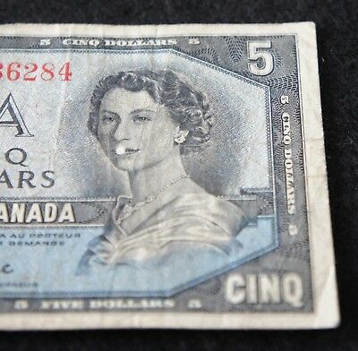 Series 1954 Canadian 5 Dollar DEVIL'S FACE Note in VG Condition Nice Old Note!