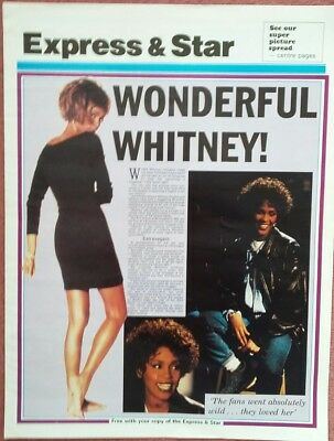 VERY RARE 1991 UK WHITNEY HOUSTON 4 Newspaper Pages - I'm Your Baby Tonight