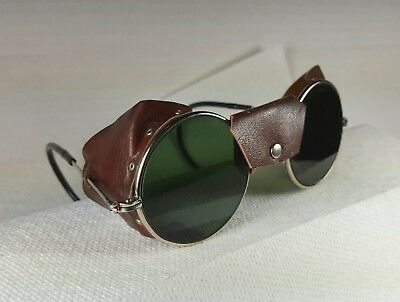 Vintage safety glasses. Nice! Leather side shields. Steampunk goggles.