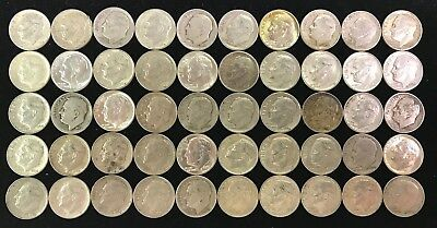 Lot of 50 Roosevelt Dimes, $5.00 Face, 90% Silver. Random Dates in Tube.