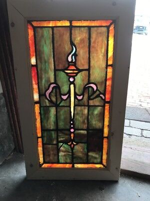 SG 2144 Antique Stainglass Torch Window 16.75 X 28.5